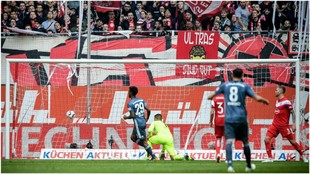 Coman marca el segundo gol del Bayern contra el Fortuna Düsseldorf.