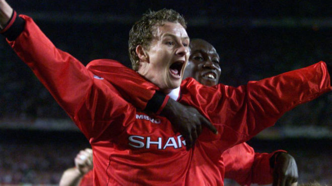 Solskjaer celebrating the goal that won the 1999 Champions League...
