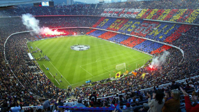 The Camp Nou on a Champions League night