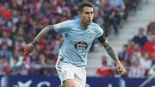 Hugo Mallo, en el partido en el Atlético.