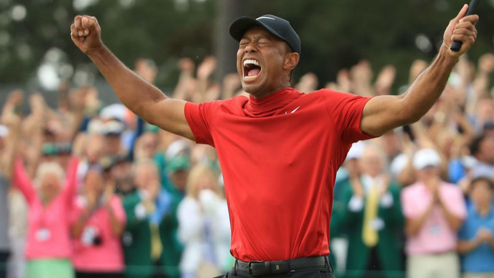 Tiger Woods celebrating his victory at Augusta.