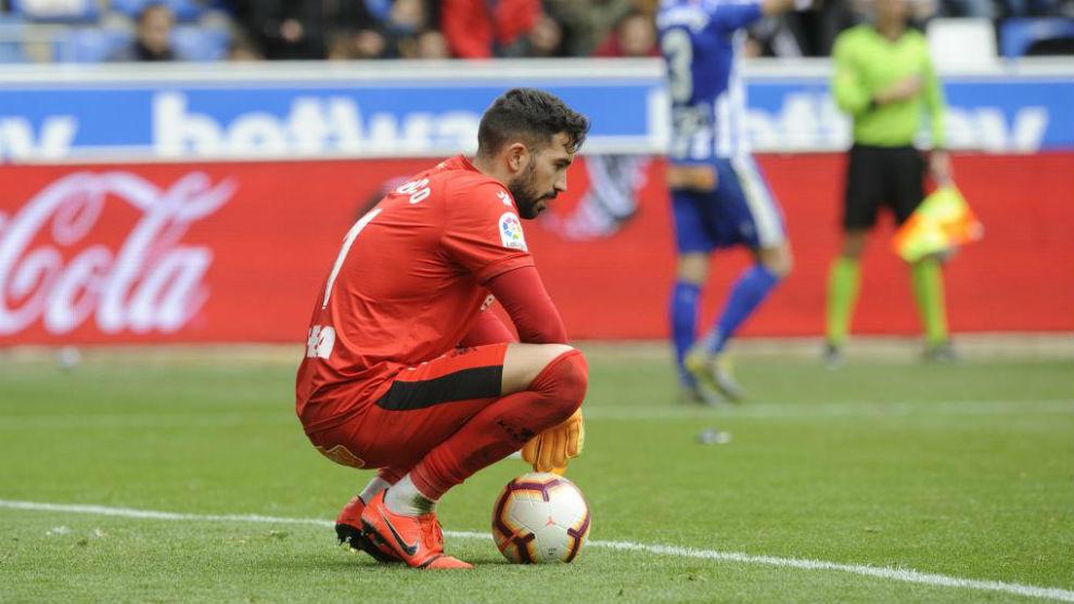 Pacheco, tras encajar un gol.
