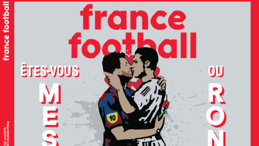 Messi y Cristiano se besan en portada de revista France Football