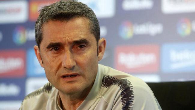 Ernesto Valverde, en una rueda de prensa.