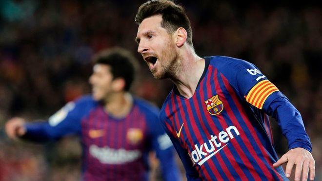 Leo Messi celebrating a goal for Barcelona