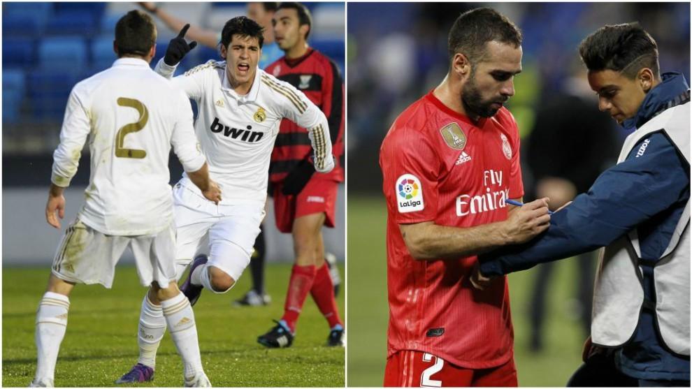 Carvajal celebrando el gol con Morata; Carvajal en Butarque este...