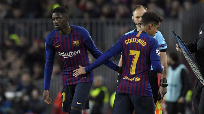 Dembélé y Coutinho.