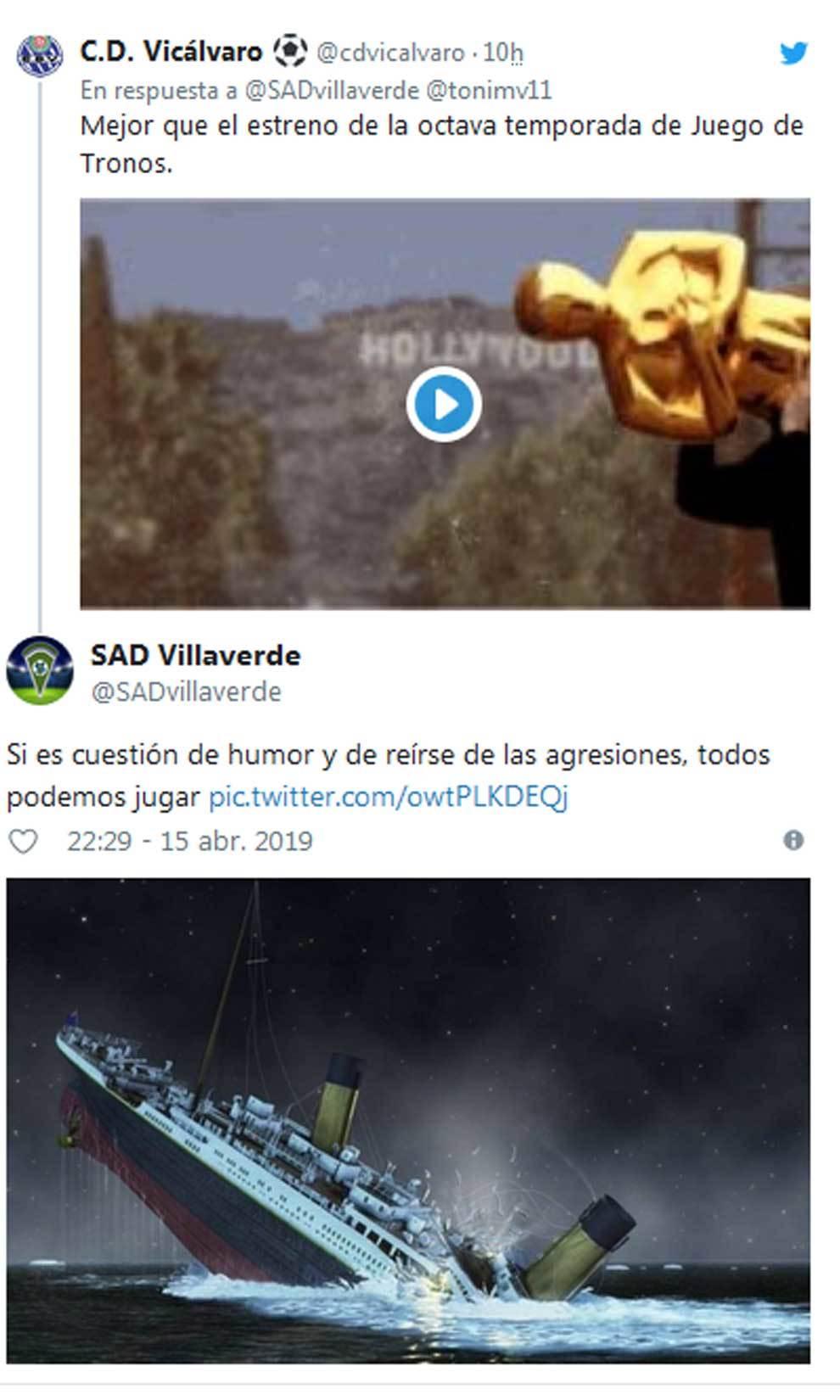 CD Vicálvaro y SAD Villaverde también se replicaron con referencias...