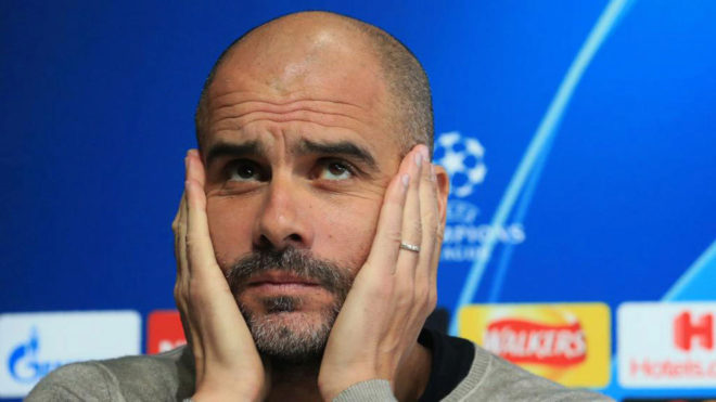 Pep Guardiola during his press conference.