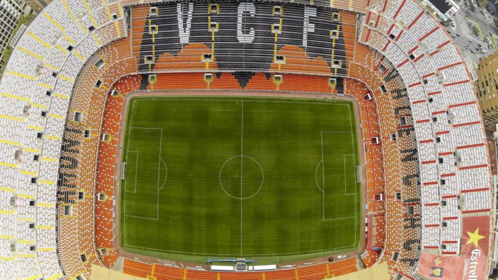 Imagen aérea del estadio de Mestalla.