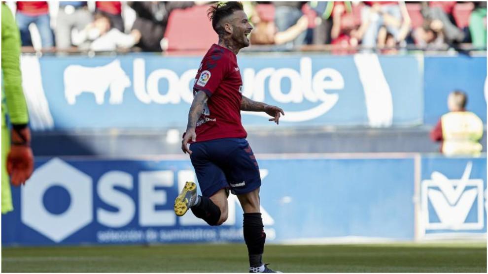 Rubén García celebra uno de sus goles al Deportivo