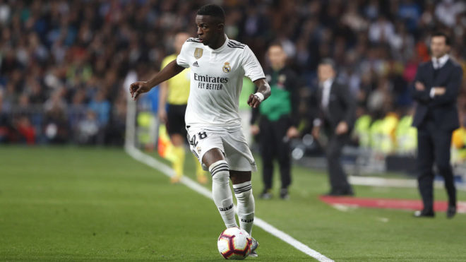 Vinícius during a match this season.