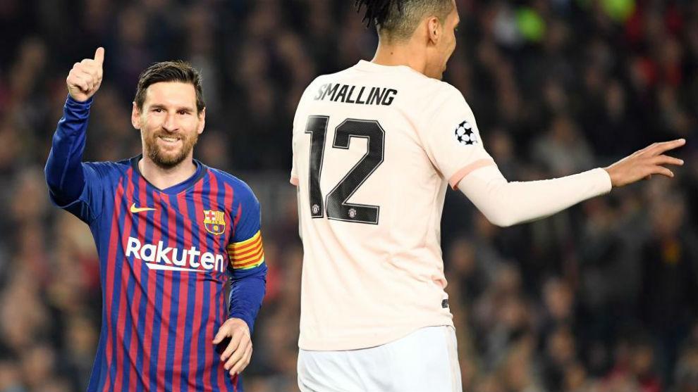 Leo Messi celebrando uno de sus dos goles ante el United.