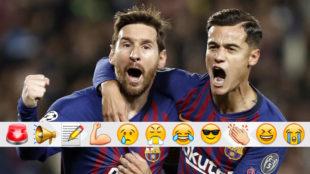 Messi y Coutinho celebran uno de los goles