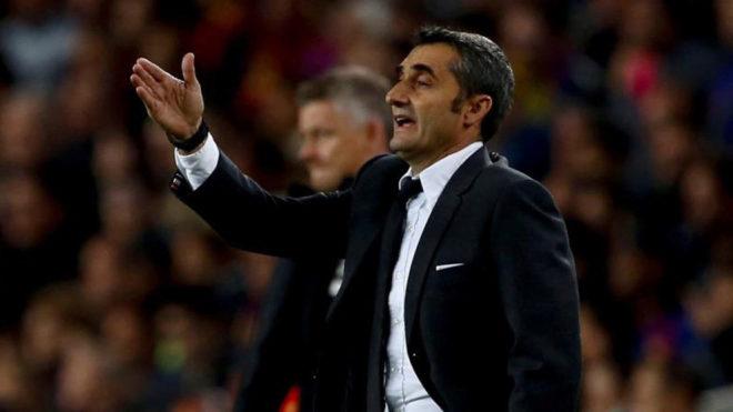 Ernesto Valverde during the match against Manchester United.