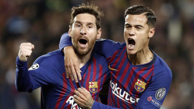 Lionel Messi and Philippe Coutinho celebrate one of Barcelona's goals