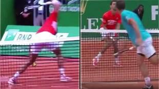 Novak Djokovic rompió una raqueta y recibió un pelotazo durante su...