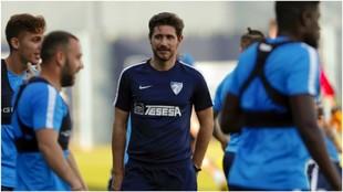 Víctor Sánchez del Amo, durante un entrenamiento con el Málaga.