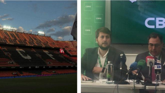 El campo de Mestalla, y el representante de ADU Meditárreo, Jose Luis...