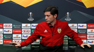 Marcelino,antes de la rueda de prensa de la Europa League.