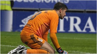 Chamgane,con la cara triste tras encajar el gol de Las Palmas