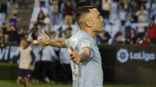 Aspas celebra un gol en Balaídos