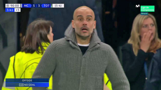Pep Guardiola with a look of disbelief after Raheem Sterling's...