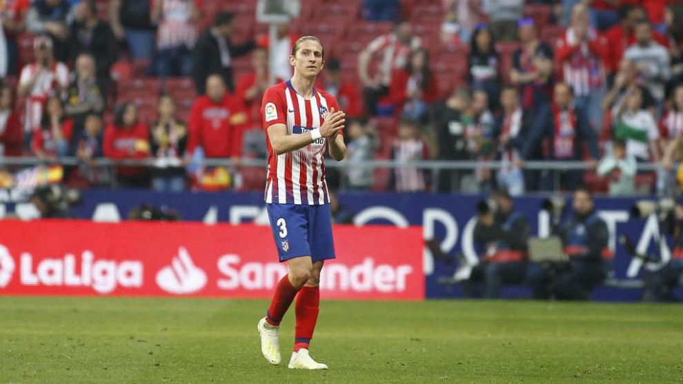 Filipe Luis, en el último partido ante el Celta en el Wanda...