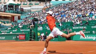 Novak Djokovic durante el partido frente al estadounidense Taylor...