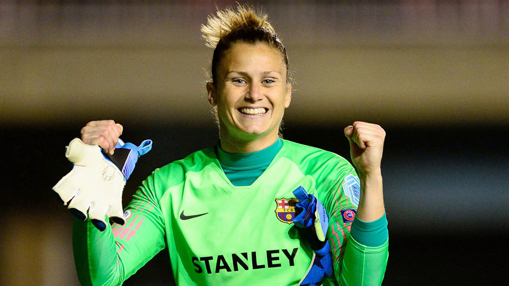 Sandra Paños celebra una victoria del Barcelona
