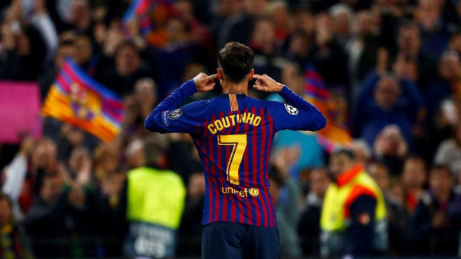 Coutinho's celebration against Manchester United.