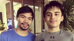 PacMan y su hijo Emmanuel.