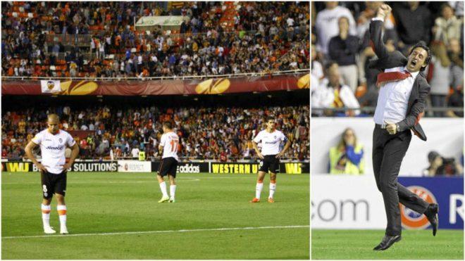 Emery celebrating Mbia's goal for Sevilla against Valencia.