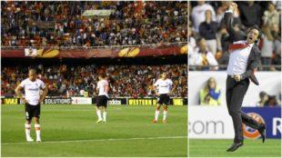 Emery celebra el gol de Mbia para el Sevilla ante el Valencia.