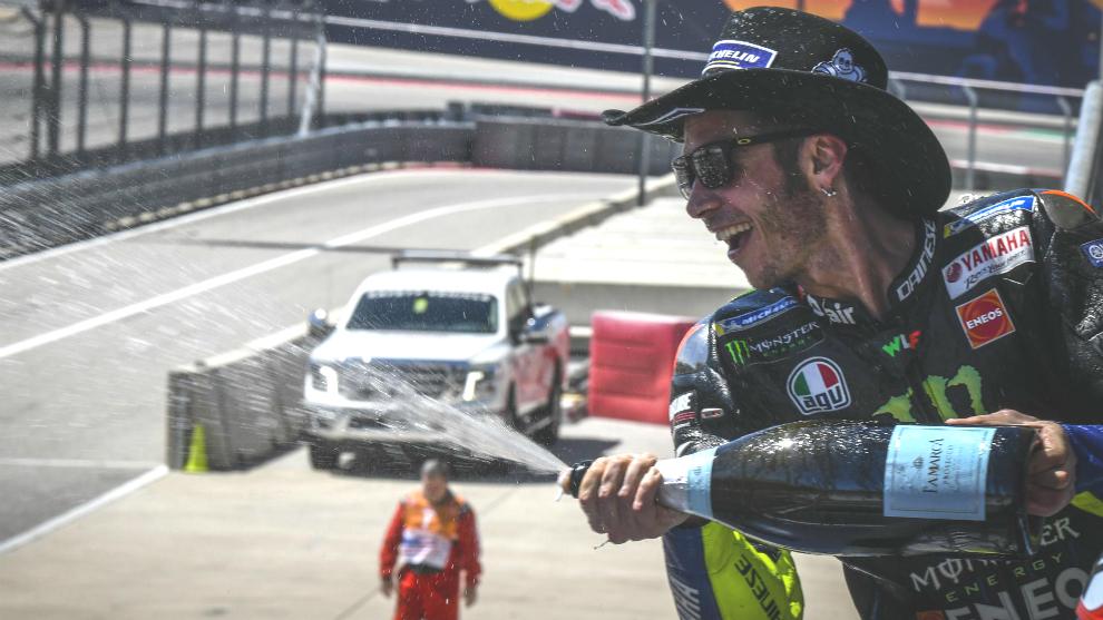 Rossi, en el podio de Austin.