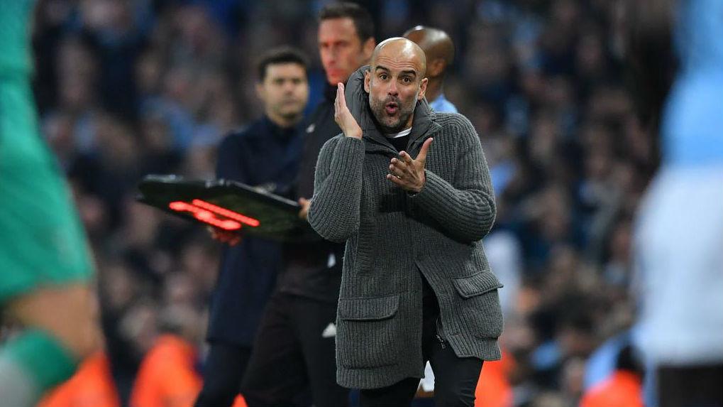 El técnico del City, Pep Guardiola, durante el partido contra el Tottenham.