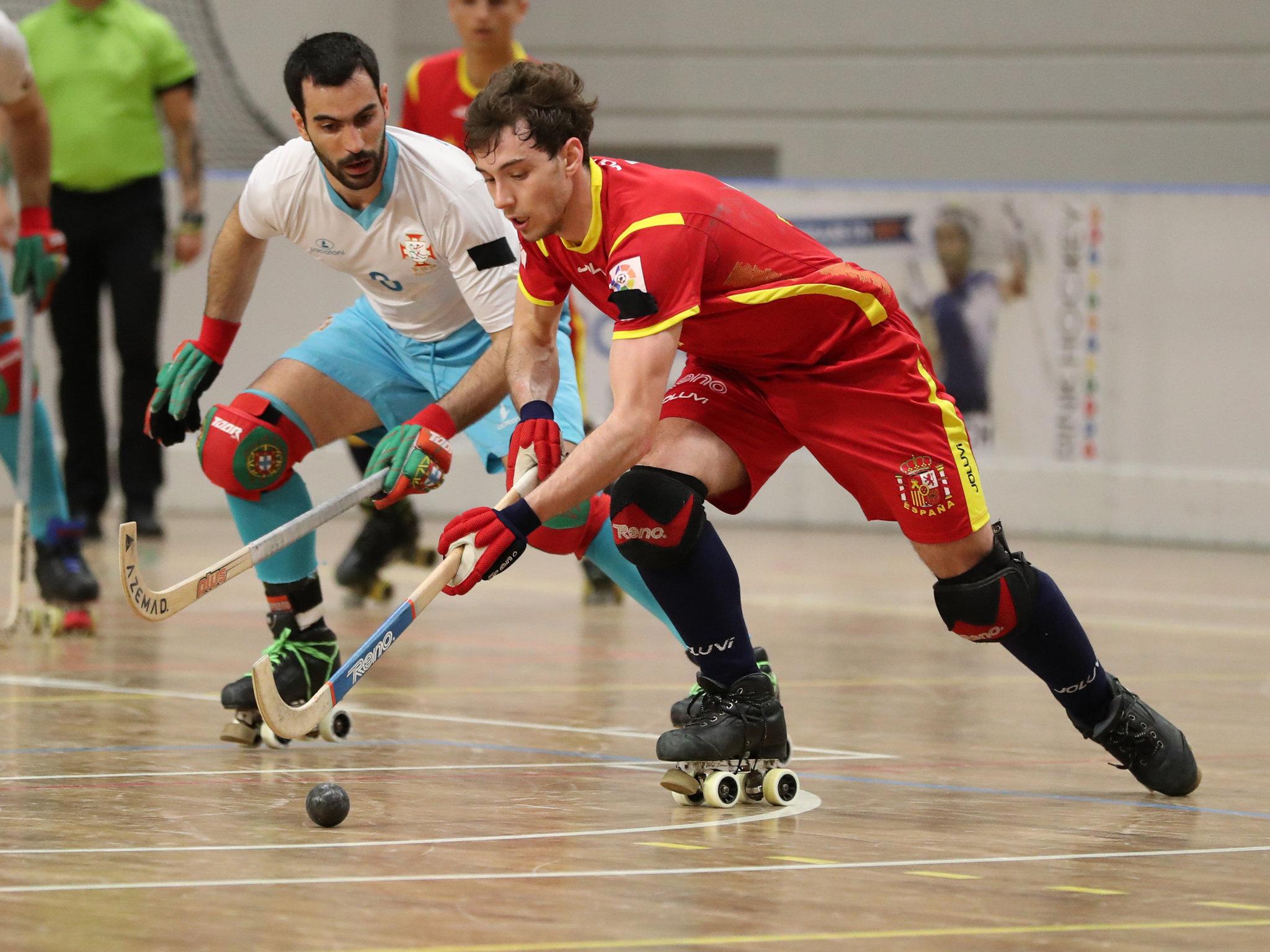 Una jugada del partido de España ante Portugal.