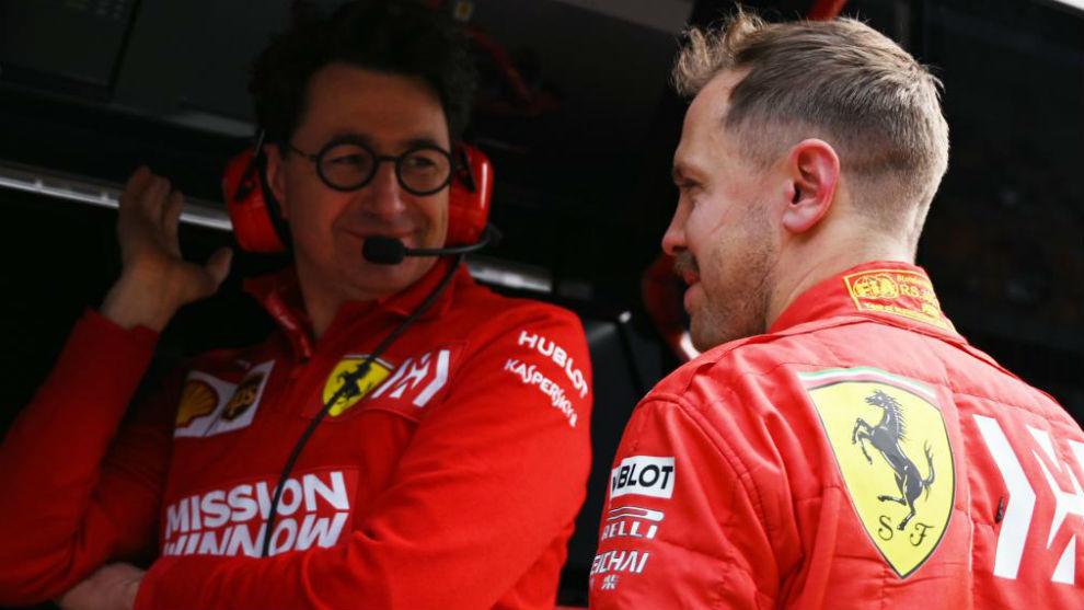 Binotto y Vettel, en el pasado GP de China.