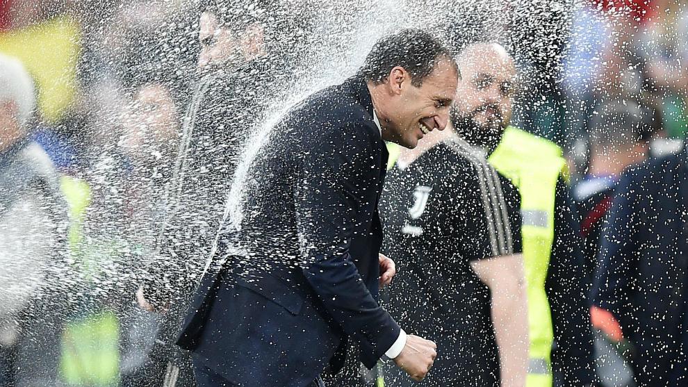 Allegri, festejando el título de Liga con la Juventus