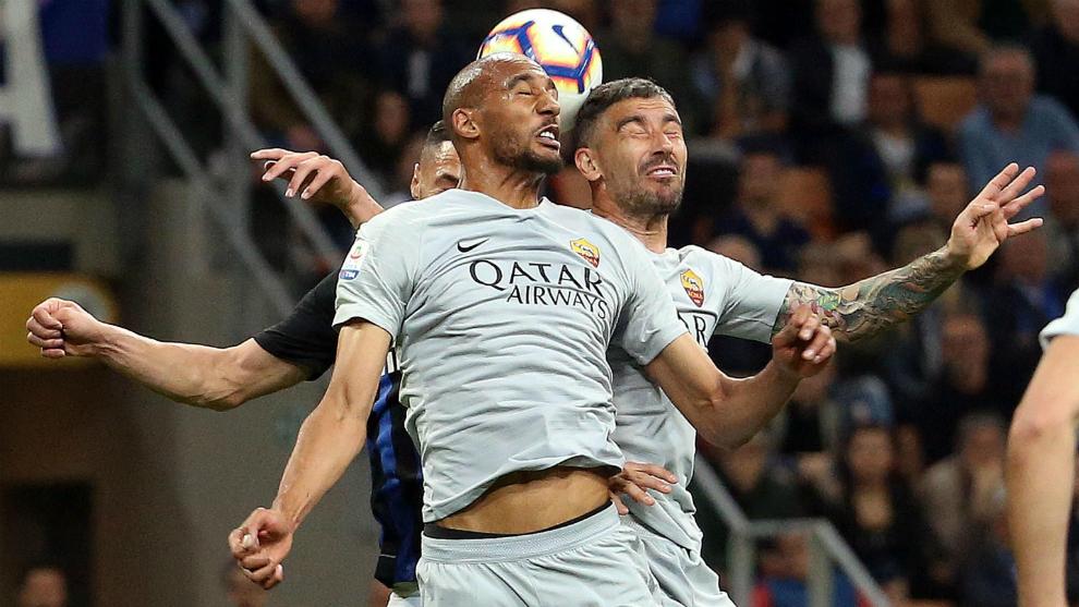 Un lance del juego entre Inter y Roma