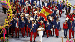 La delegación española de los Juegos de Río durante la ceremonia de...