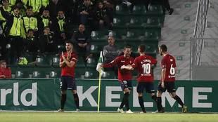 David García celebra el gol del empate de Osasuna en el Martínez...