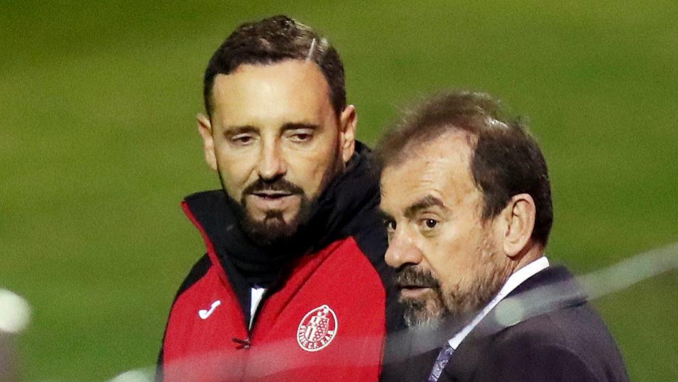 Bordalás y Torres, antes de un partido del Getafe.