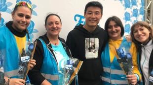 Wu Lei, en el stand del Espanyol.
