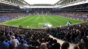 Panorámica del RCDE Stadium durante el duelo entre Espanyol y...