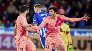 Aleñá celebra su gol contra el Alavés.