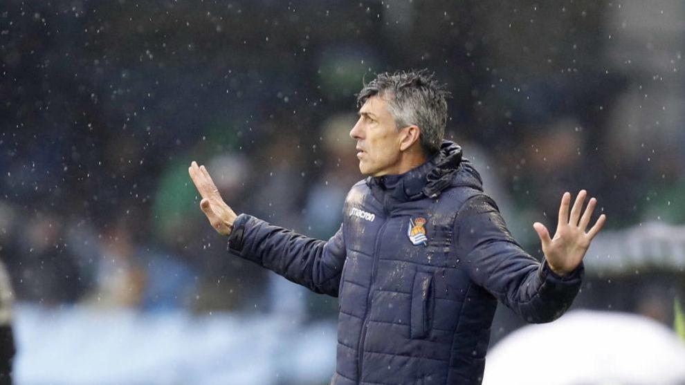 Imanol, durante el partido contra el Celta en Balaídos.