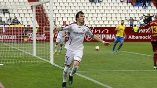 Eugeni celebra un gol ante Las Palmas.