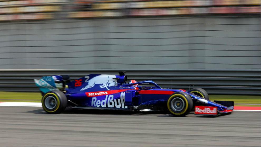 Daniil Kvyat, en China con su Toro Rosso.
