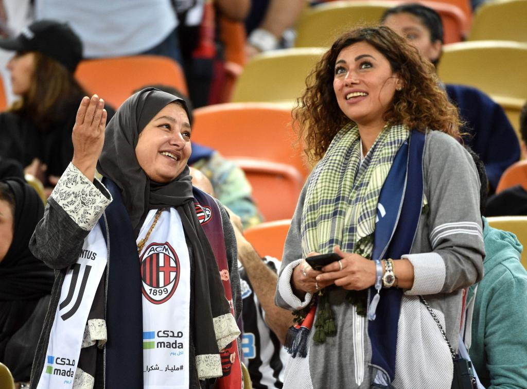 Fans are pictured in the stands during the Supercoppa Italiana final between <HIT>Juventus</HIT> and AC Milan at the King Abdullah Sports City Stadium in <HIT>Jeddah</HIT> on January 16, 2019. (Photo by Fayez Nureldine / AFP)